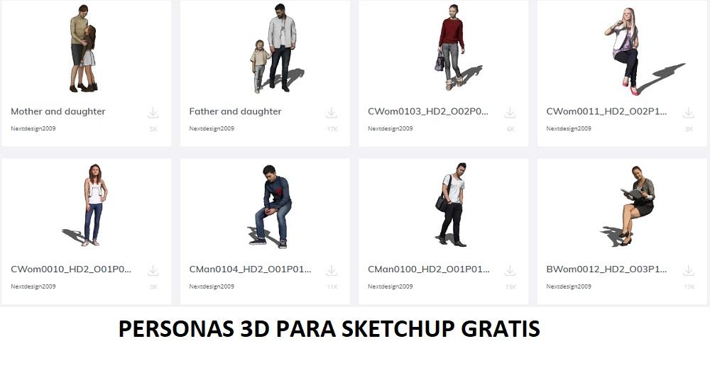 Personas 3D de calidad para sketchup